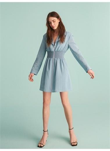 Nocturne Fermuarlı Ceket Elbise Mavi